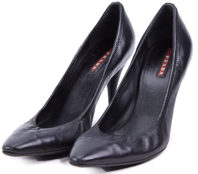 PRADA SPORT Black Leather Pump Heels
