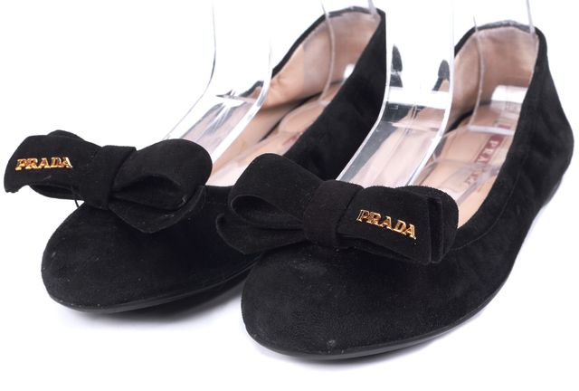 PRADA SPORT Black Suede Bow Embellished Suede Flats Size US 6.5 IT 36.5