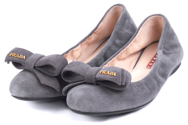 PRADA SPORT Gray Bow Embellished Suede Flats Size US 6.5 IT 6.5