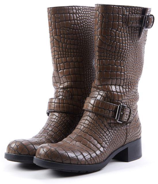 PRADA SPORT Brown Embossed Animal Print Leather Mid-Calf Boots