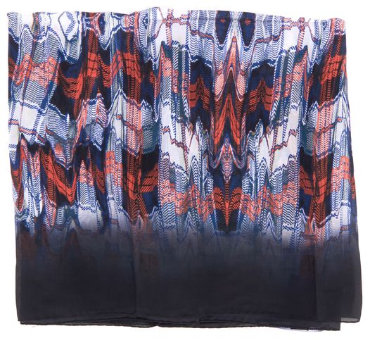 PROENZA SCHOULER Midnight Blue Ombre Multicolor Abstract Print Silk Scarf
