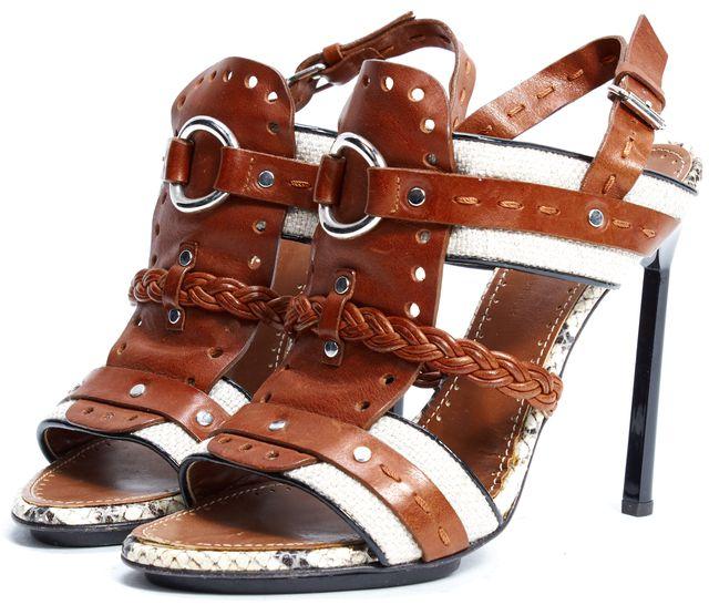 PROENZA SCHOULER Brown Leather Canvas Python Detail Sling Back Sandals