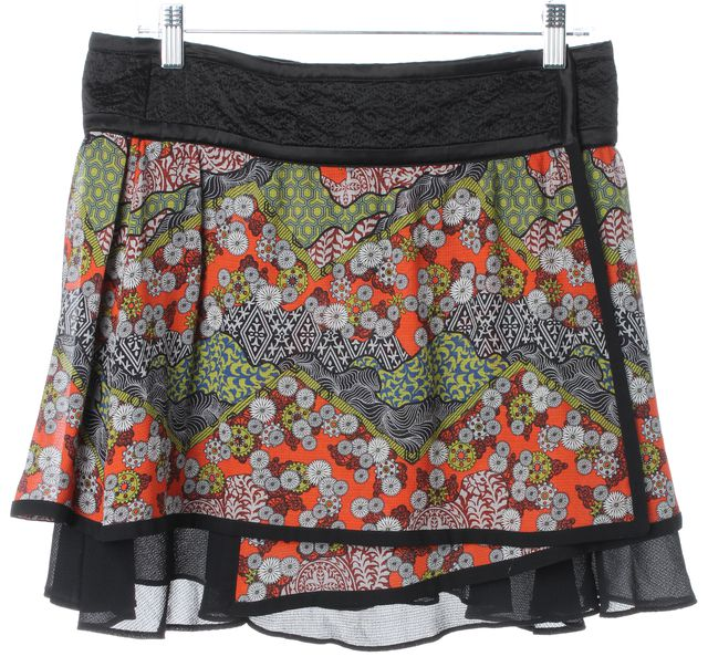 PROENZA SCHOULER Black Orange Abstract Silk Wrap Effect Tiered Skirt