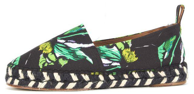 PROENZA SCHOULER Black Green White Floral Canvas Espadrille Flats