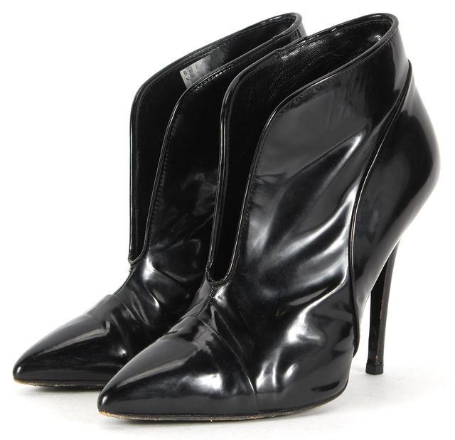PROENZA SCHOULER Black Patent Leather Pointed Toe Booties