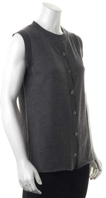 PROENZA SCHOULER Charcoal Gray Wool Knit Button Front Vest