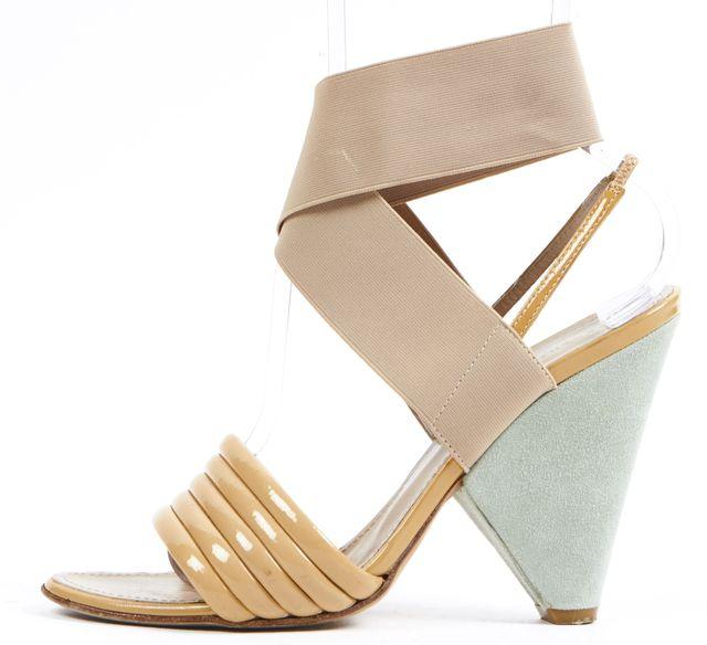 PROENZA SCHOULER Beige Patent Leather Ankle Strap Sandal Heels