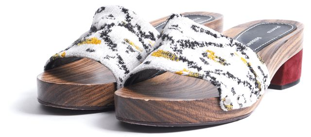 PROENZA SCHOULER White Yellow Black Tapestry Slip-On Sandals