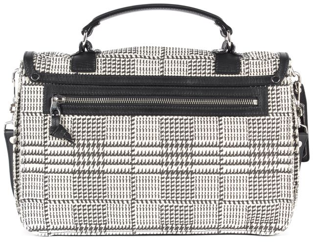 PROENZA SCHOULER Black White Houndstooth Canvas Leather Trim PS1 Satchel