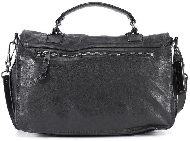 PROENZA SCHOULER Black Leather Fringe Trim Adjustable Strap Ps1 Satchel