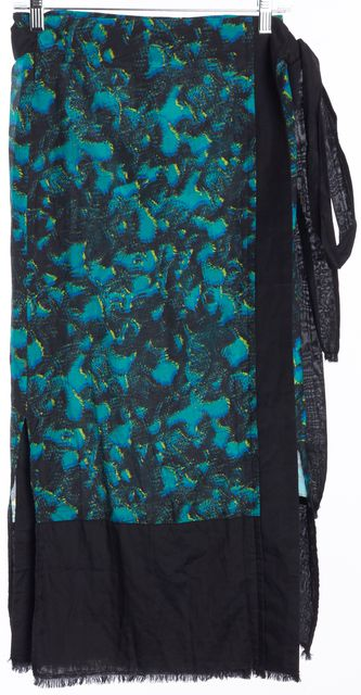 PROENZA SCHOULER Turquoise Abstract Print Pareo Wrap Skirt
