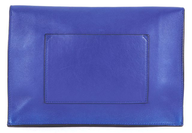 PROENZA SCHOULER Blue Purple Leather Color Block Lunch Bag Clutch