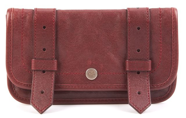 PROENZA SCHOULER Red Wine Gold Tone hardware Flap top Leather PS1 Wallet