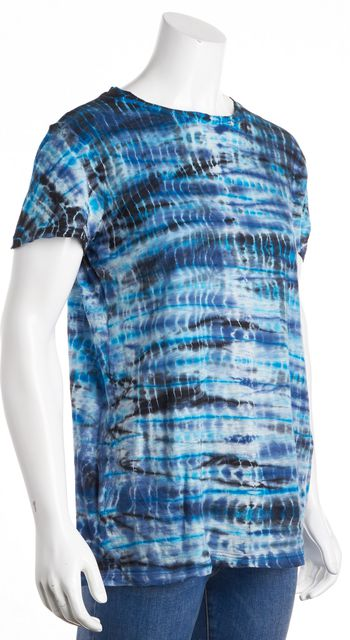 PROENZA SCHOULER Blue Multi-Color Tie Dye Basic Tee T-Shirt