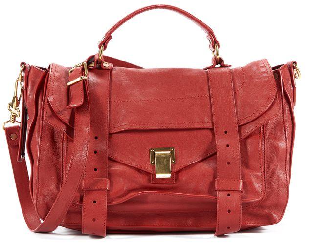 PROENZA SCHOULER Red Leather Messenger Satchel Handbag