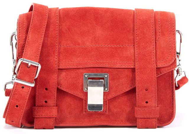PROENZA SCHOULER Red Silver tone Branded hardware Suede PS1 Mini Crossbody