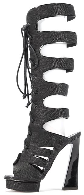 PROENZA SCHOULER Black Leather Aracaico Lace Up Knee High Gladiator Boots