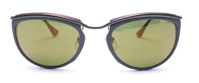 PERSOL Brown Silver Green Tortoise Wire Mirrored Lens Oval Sunglasses