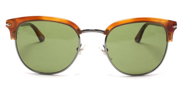PERSOL Brown Green Terra Di Siena Acetate Wire Combo Frame Sunglasses