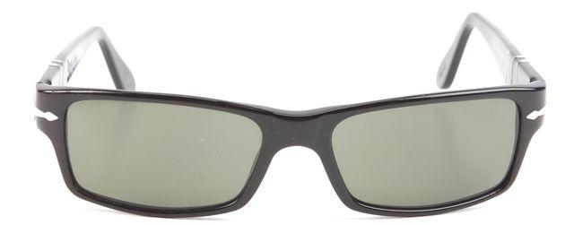 PERSOL Black Acetate Small Wrap-Around Rectangler Sunglasses w/ case
