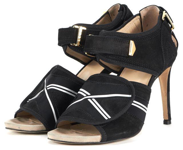 PREEN BY THORNTON BREGAZZI Black White Suede Sandal Heels