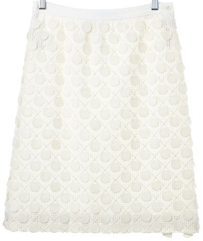 PIAZZA SEMPIONE Ivory Cotton Crochet Embroidered Pencil Skirt