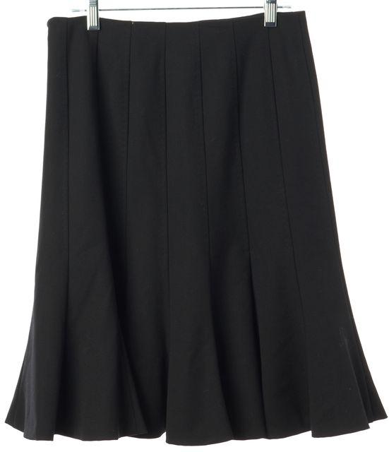 PIAZZA SEMPIONE Black Wool Pleated Knee-Length Skirt