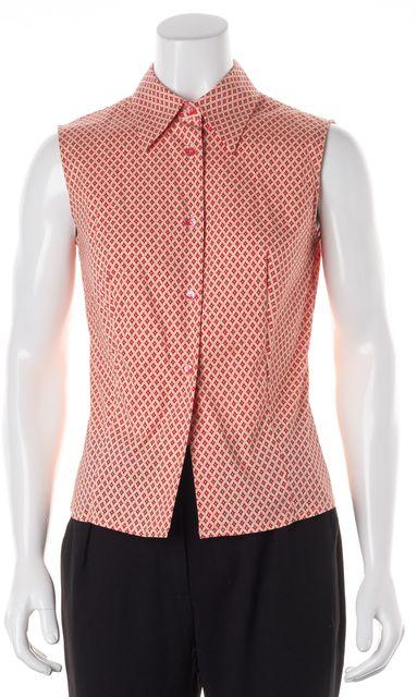 PIAZZA SEMPIONE Red Orange Sleeveless Button Down Shirt