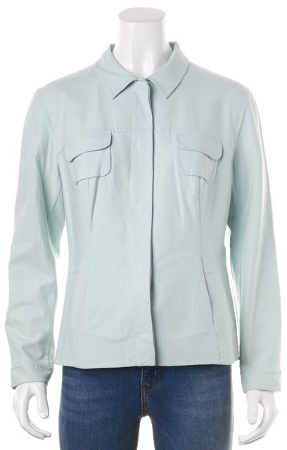 PIAZZA SEMPIONE Baby Blue Snap Front Basic Jacket