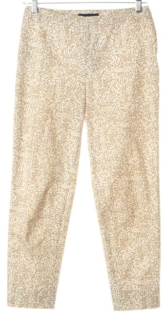 PIAZZA SEMPIONE Beige Abstract Cotton Capris, Cropped Pants