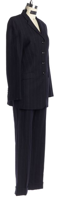 PIAZZA SEMPIONE Navy Blue White Striped Wool Pant Suit Set