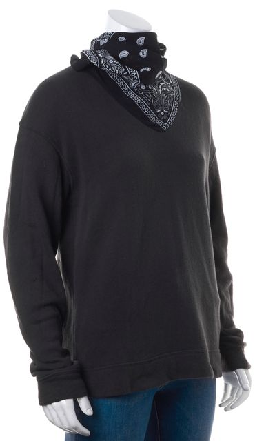 R13 Black White Bandana Collar Thin Knit Sweater