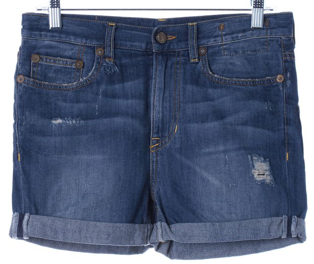 R13 Blue Rolled Up Distressed Denim Jean Shorts
