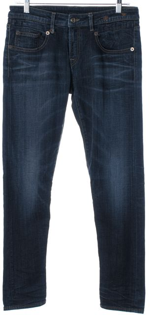 R13 Blue Mid-Rise Skinny Jeans