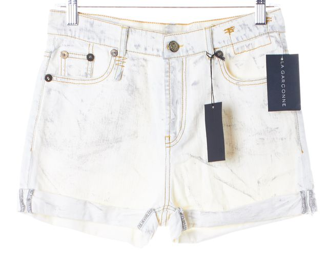R13 Ivory Worn Bleached Wash Denim Slouch Shorts