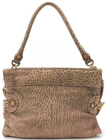 RACHEL ZOE Authentic Gold Brown Metallic Leather Crossbody Shoulder Bag