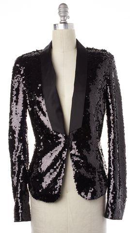 RACHEL ZOE Black Sequined Embellished Satin Lapel Formal Blazer