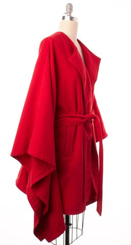 RACHEL ZOE Red Belted Basic Coat Size 1X