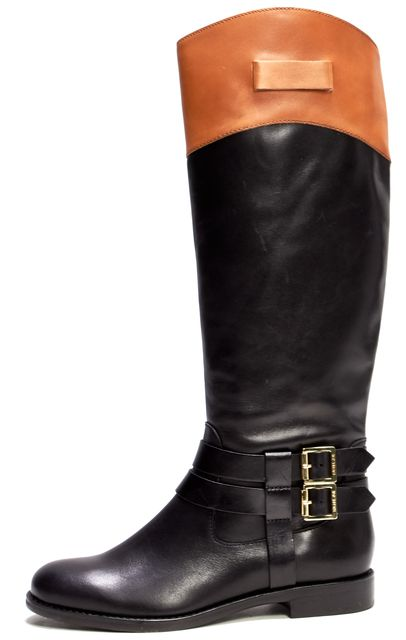 RACHEL ZOE Black Brown Leather Buckle Trim Round Toe Knee-High Boots