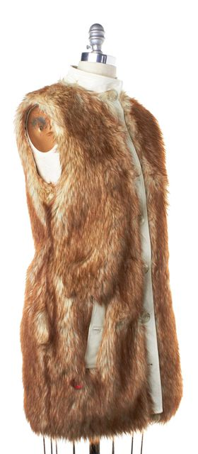 RACHEL ZOE Ivory Brown Faux Fur Leather Lining Vest