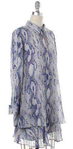 RACHEL ZOE Blue Snake Print Silk Shift Dress