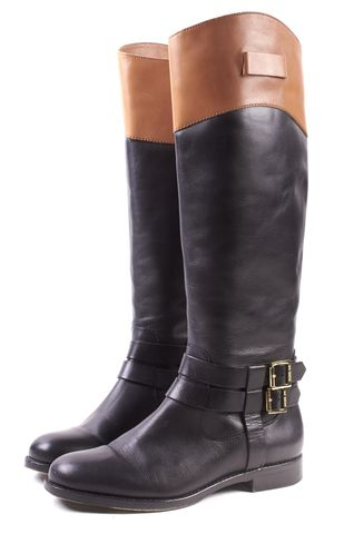 RACHEL ZOE Black Brown Leather Buckled Knee High Boots Size 9