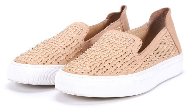 RACHEL ZOE Blush Beige Studded Slip On Sneakers