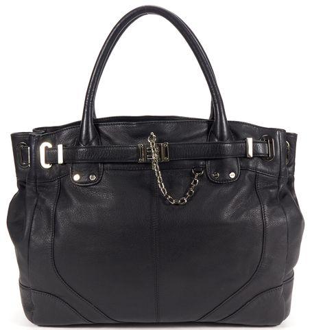 RACHEL ZOE Authentic Black Silver Hardware Pebbled Leather Tote Shoulder Bag