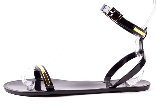 RACHEL ZOE Black Gold PVC Jelly Embellishment Sandals