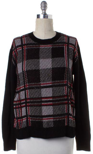RACHEL ZOE Black Red Plaid Wool Knit Chain Embellished Crewneck Sweater