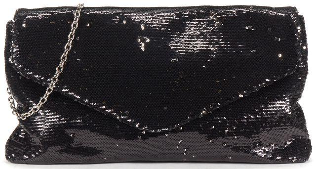 RACHEL ZOE Black Patent Leather Sequin Clutch Shoulder Bag