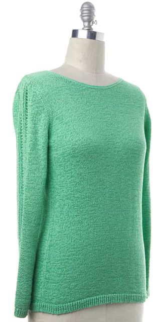 RACHEL ZOE Green Cotton Knit Boat Neck Sweater