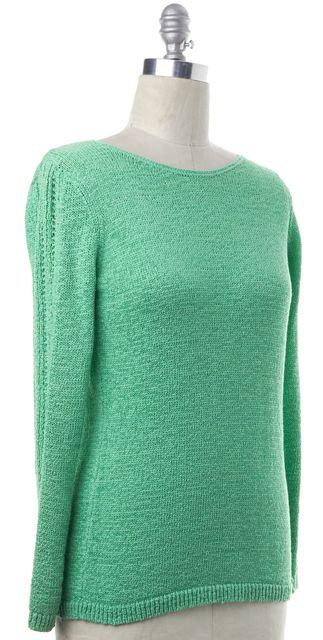 RACHEL ZOE Green Cotton Knit Boat Neck Sweater