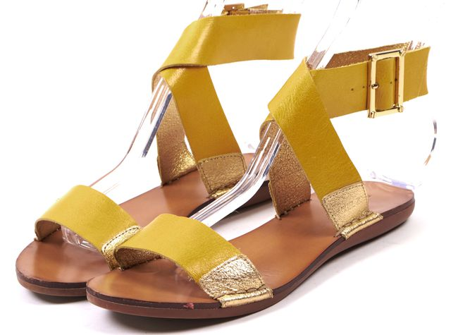 RACHEL ZOE Yellow Gold Leather Strap Flat Sandals
